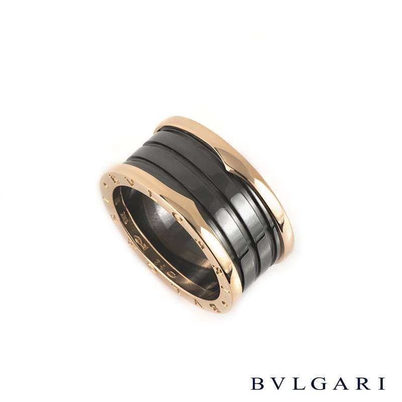 Bvlgari 18k Rose Gold & Black Ceramic B.zero1 Ring AN855563